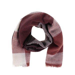 Eșarfă tricotată vișiniu cu crem ONLY Oniella