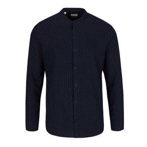 Cămașă bleumarin Selected Homme No Neaslak cu guler tunică și model discret