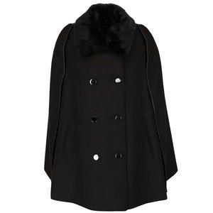 Jachetă neagră tip poncho cu guler din blană sintetică Dorothy Perkins
