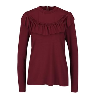 Bluză vișinie Vero Moda Tammi cu volănașe la pretul de 139.99