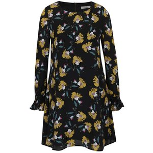 Rochie neagră Darling Cerys cu model floral