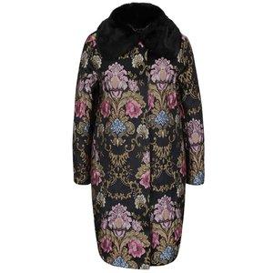 Palton negru Darling Hepburn cu model floral și guler îmblănit la pretul de 939.99