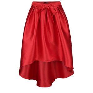 Fustă plisată asimetrică roșie TALLY WEiJL cu aspect lucios