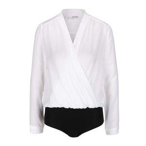 Body alb şi negru cu model drapat şi decolteu suprapusTALLY WEiJL la pretul de 91.99