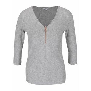 Bluză gri melanj cu fermoar şi mâneci trei sferturi TALLY WEiJL la pretul de 59.99