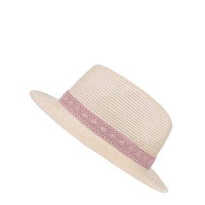 Pălărie gri Pieces Bibi cu panglică roz la pretul de 39.99
