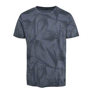 Tricou albastru Jack & Jones Leaf cu imprimeu