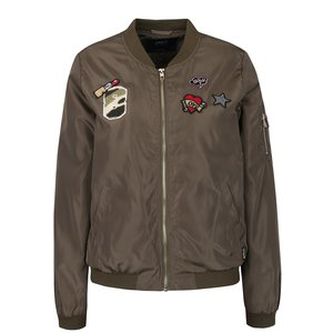 Jachetă bomber kaki cu aplicații brodate ONLY Linea