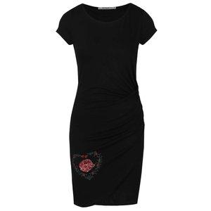 Rochie neagră cu broderie florală Desigual Madrid
