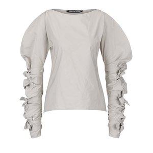 Bluză gri deschis Bianca Popp cu mâneci bufante