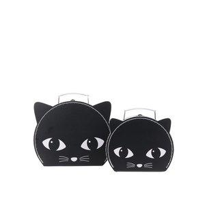 Set 2 cutii negre Sass & Belle în formă de pisică