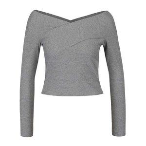 Bluză crop top gri Miss Selfridge cu aspect suprapus