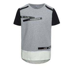 Tricou gri melanj name it Duke cu print și tiv asimetric de la Zoot.ro