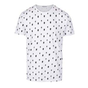 Tricou alb Selected Homme Three din bumbac Pima cu imprimeu
