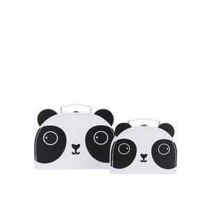 Set 2 cutii alb & negru din metal Sass & Belle în formă de panda