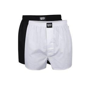 Set de 2 boxeri alb & negru Lousy Livin Plain din bumbac