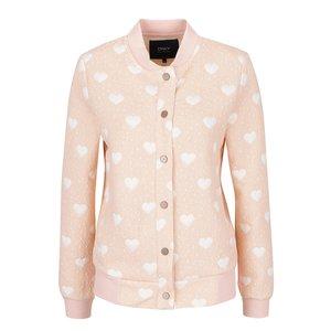 Jachetă bomber roz piersică cu inimioare albe ONLY Ama