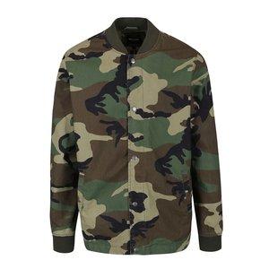 Jachetă bomber verde & maro ONLY & SONS Camo din bumac cu model camuflaj