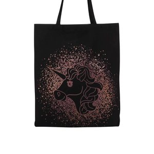 Geantă neagră de pânză TALLY WEiJL cu imprimeu cu unicorn