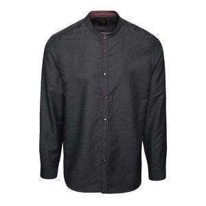 Cămașă neagră Burton Menswear London din bumbac cu guler tunică și model discret de la Zoot.ro