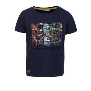 Tricou albastru închis LEGO Wear Teo din bumbac cu print pentru băieți
