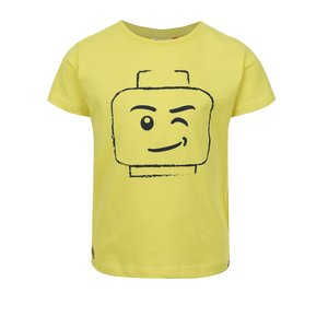 Tricou galben LEGO Wear Teo din bumbac cu print pentru băieți