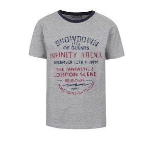 Tricou gri melanj 5.10.15. cu print pentru băieți