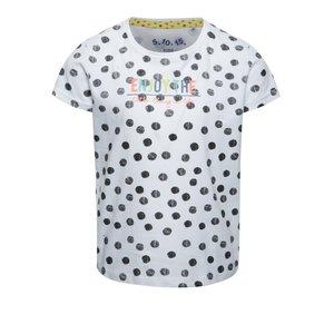 Tricou alb 5.10.15. din bumbac cu model cu buline pentru fete
