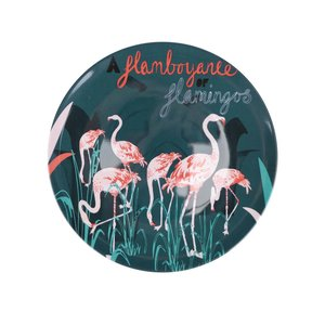Farfurie verde cu imprimeu Disaster Flamingo