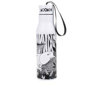 Termos alb negru cu print Disaster Moomin