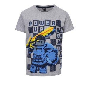 Tricou gri melanj LEGO Wear din bumbac cu print