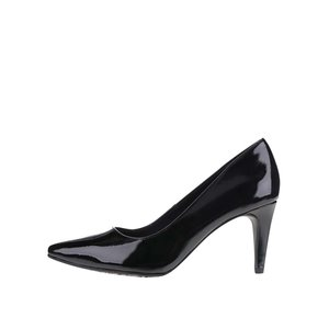 Pantofi negri cu toc Tamaris cu aspect lăcuit