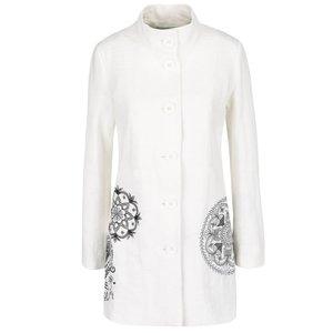 Palton alb Desigual Eva cu broderie de la Zoot.ro