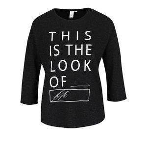 Tricou negru melanj QS by s.Oliver cu print de la Zoot.ro
