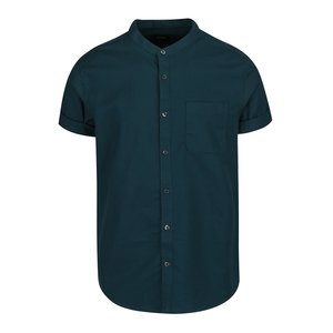 Cămașă verde închis Burton Menswear London din bumbac cu guler tunică și mâneci scurte de la Zoot.ro