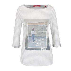 Bluză crem s.Oliver cu print și model în dungi orizontale de la Zoot.ro