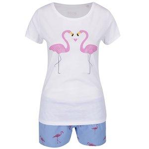 Pijama Alb & Roz & Albastru Zoot Original Flamingo Din Bumbac Cu Print Si Model