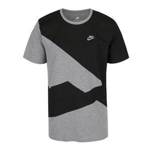 Tricou Negru & Gri Melanj Nike Din Bumbac Cu Model