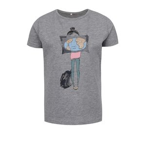 Tricou gri melanj name it Happi cu print pentru fete de la Zoot.ro