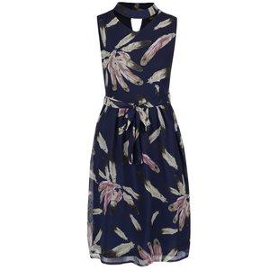 Rochie lungă albastru închis Mela London cu model floral și guler cu decupaj de la Zoot.ro