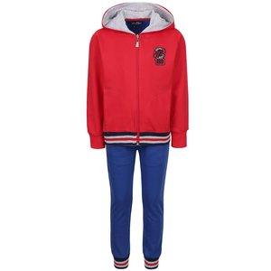 Set pantaloni & hanorac sport roșu & albastru North Pole Kids din bumbac cu aplicații și detalii de la Zoot.ro