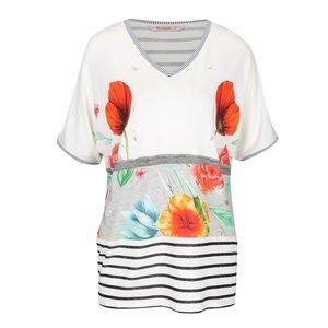 Tricou crem Desigual Maria Luisa cu model floral și croi lejer de la Zoot.ro