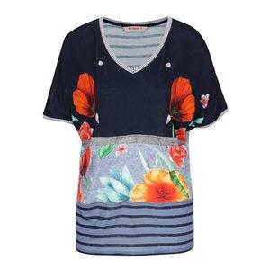 Tricou albastru Desigual Maria Luisa cu model floral și croi lejer de la Zoot.ro