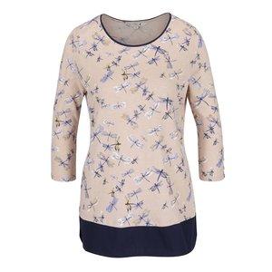Bluză bej & albastru M&Co cu model și mâneci trei sferturi de la Zoot.ro