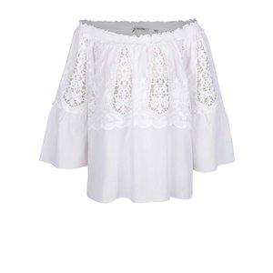 Bluză albă Rich & Royal cu mâneci trei sferturi fluture și detaliu din dantelă de la Zoot.ro