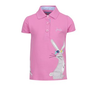 Tricou polo roz Tom Joule cu print și logo pentru fete