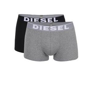 Set gri&negru Diesel cu două perechi de boxeri cu logo de la Zoot.ro
