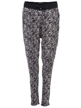 Pantaloni de dama Scotch & Soda cu imprimeu zebra negru si alb