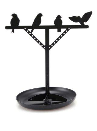 Čierny stojan na šperky s vtáčikmi Kikkerland Bird