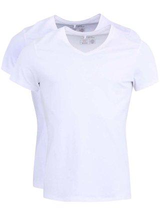 Súprava dvoch tričiek pod košeľu v bielej farbe s véčkovým výstrihom Blend